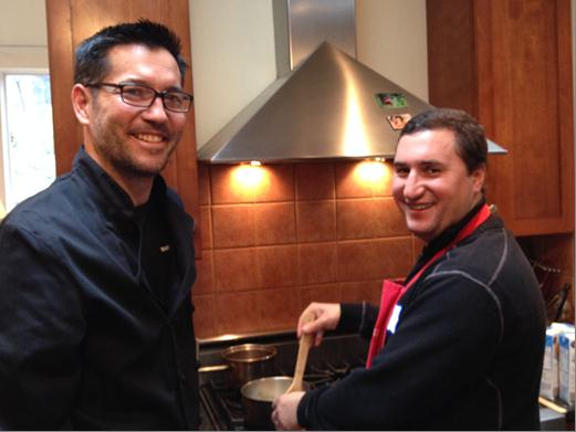 Expert stirring by Chef David and Visiting Fulbright Scholar Gabriel Balayan