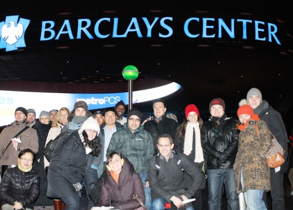 The Fulbright group outside of the Barclays Center before the game