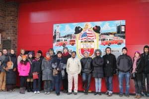 Fulbright scholars outside the famous Pride of Midtown Firehouse
