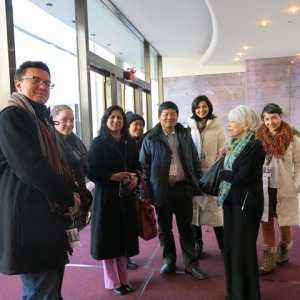 Dario Cepo (Scholar from Slovakia), Aline Pognonec (One To World Fellow), Shagufta Akbar (Scholar from Pakistan) Thanh Hoang , (Vietnamese Student), Chao Yang (Scholar from China),  Monica Hernandez (Hondurian Student) and Esther Achaerandio (Spanish Student) (left to right) with one of the Met Guild's knowledgeable guides during the backstage tour.