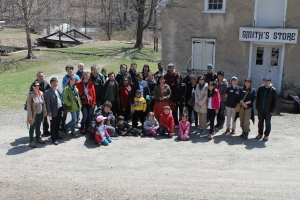 The Fulbright scholars and their families in front of the historic canal village.