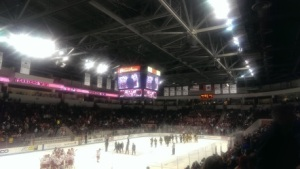 Scholars and their families enjoy watching a college hockey game