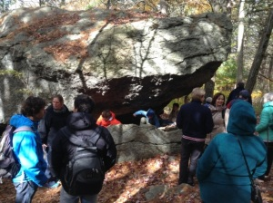 Scholars see an ancient glacial rock at the Audobon Sanctuary