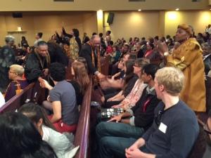 Rev. Boyd warmly welcomes Fulbright Scholars.