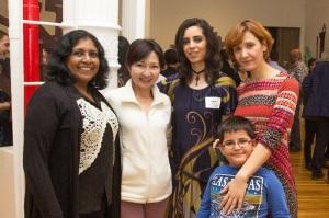 (left to right) Beulah Shekhar from India, Farida Ryskulueva from Kyrgyzstan, Zainab Riaz from Pakistan and Evetla Londo from Albania with her son, Piro.