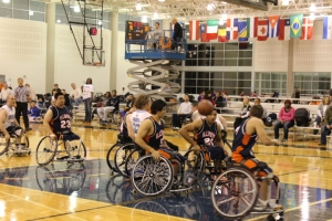 A wheelchair basketball game at the Lakeshore Foundation.