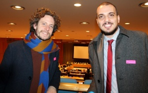 Fulbright scholar Daan Bauwens from Belgium and Dren Pozhegu from Kosovo inside the General Assembly Hall