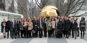 "The Fulbright group in front of Arnaldo Pomodoro's famous globe sculpture entitled ""Sphere within a Sphere"""