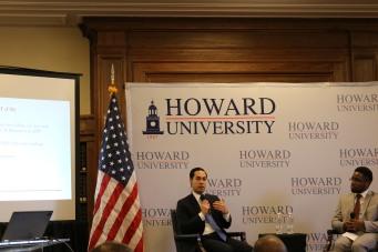 Secretary of U.S Housing and Urban Development, Julian Castro speaking to the audience about urban development.