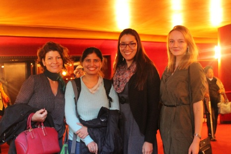 [Left to right) Fulbright Scholars Marcia Graminha from Brazil and Arunima Chauduri from India and Fulbright students, Margarita Elisa Troetsch from Panama and Ekaterina Kryakhova from Russia