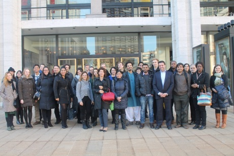 Fulbrighters take picture together before entering the Metropolitan Opera